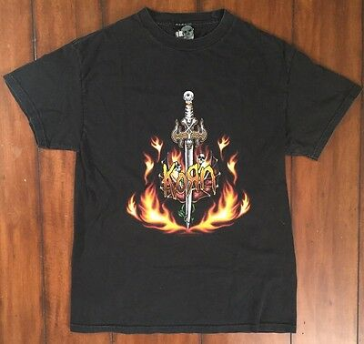 vtg Korn 2003 Tour T Shirt Metal Band Black Giant Vintage Sword Dagger Medium