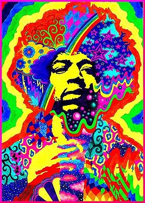 "3.25"" JIMI HENDRIX  Psychedelic Vinyl bumper STICKER. For car, window, bong."