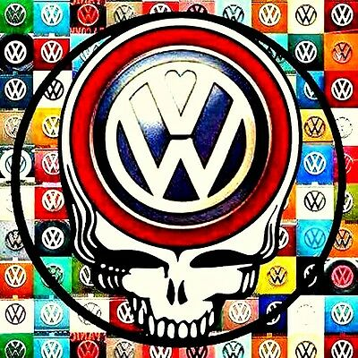 "2.5"" Grateful Dead Vintage style VW Steal your Face STICKER. Guitar, Bong, pipe"