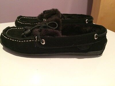 New Sperry Top Sider Women's Black Suede Fur Lined Moccasin Size 6m