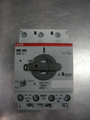 ABB MS325  manual motor controller starter adj 4.0-6.3 Amp 480v 2 avail rail mt