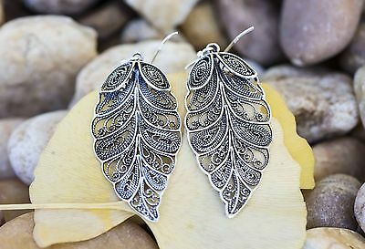 Vintage Style Art Deco Dangling Leaf Earrings 925 Sterling Silver Filigree Drop