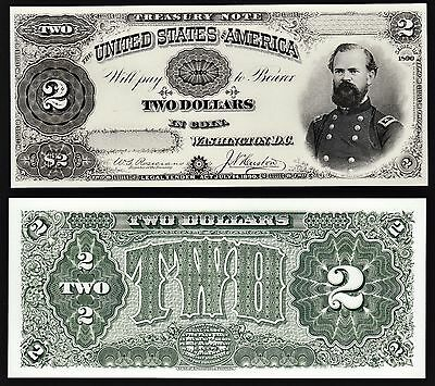2 Proof Prints or Intaglio Impressions by BEP - Face & Back of 1890 $2 Treasury