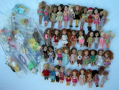 Huge Lot Dressed 20 Kelly 4 Tommy 11 Chelsea Barbie's Little Sister & 25 Outfits