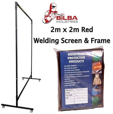 Red Welding Curtain/Screen with Heavy Duty Frame and Castors 2m x 2m