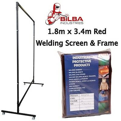 Red Welding Curtain/Screen with Heavy Duty Frame and Castors 1.8m x 3.4m