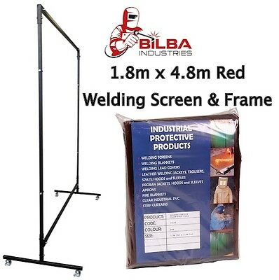 Red Welding Curtain/Screen with Heavy Duty Frame and Castors 1.8m x 4.8m