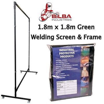 Green Welding Curtain/Screen with Heavy Duty Frame and Castors 1.8m x 1.8m