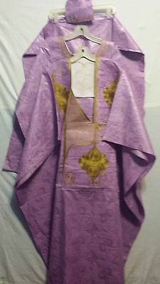 Men Grand Boubou Pant suit African Brocade Print Free size Lilac embroidery
