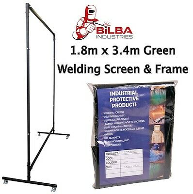 Green Welding Curtain/Screen with Heavy Duty Frame and Castors 1.8m x 3.4m