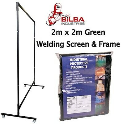 Green Welding Curtain/Screen with Heavy Duty Frame and Castors 2m x 2m