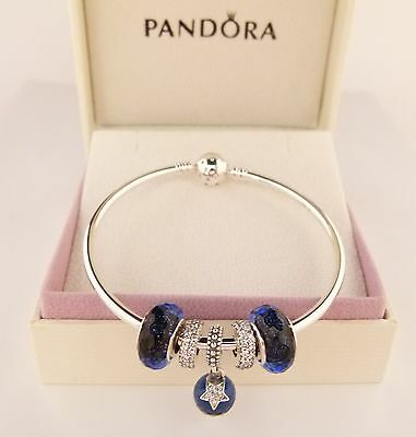Pandora Authentic CZ Star Bangle with Iridescent Faceted beads - Wholesale price