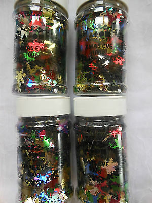 4 Tubs Christmas Sequins / Card Embellishments (No Sew Holes)