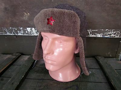 Original winter hat USHANKA of soldier of the red Army of the USSR during WWII.