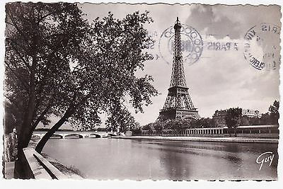 RPPC 1952 View Of The River Seine & The Eiffel Tower Paris France Real Photo GUY