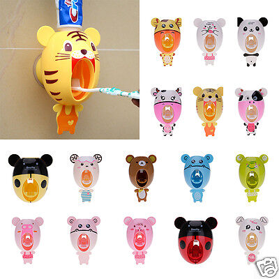 Novelty Cute Cartoon Automatic Toothpaste Dispenser Holder Wall Mount Kids Gift