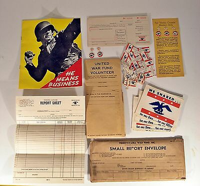 Original Unused WWII Pennsylvania War Fund Packet NOS Pins/Papers/etc.. bond