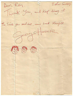 George Harrison Signed Letter March 1969 The Beatles With Frank Caiazzo Letter
