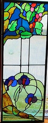 Antique Stained Glass 2 Window Panels