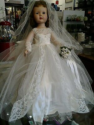 """THE BEST Old Vtg 20"""" HARD PLASTIC TOY DOLL EFFANBEE Orig-WIG Clothes BRIDE DOLL"""