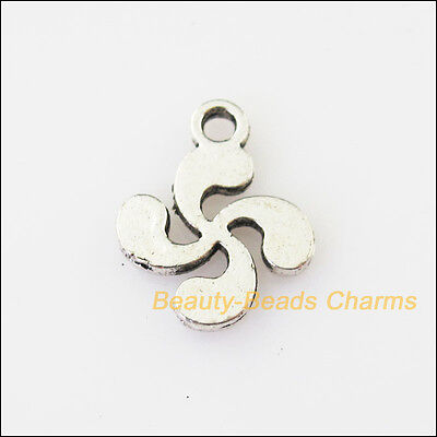 20Pcs Antiqued Silver Tone Smooth Windmill Flower Charms Pendants 12x15mm
