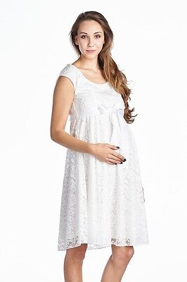 b3806f2180e1a Hello Miz White Floral Lace Baby Shower Maternity Dress Satin Waist Made in  USA