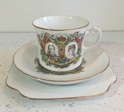 George V Mary Commemorative Silver Jubilee Cup Saucer Royal Vale China Trio