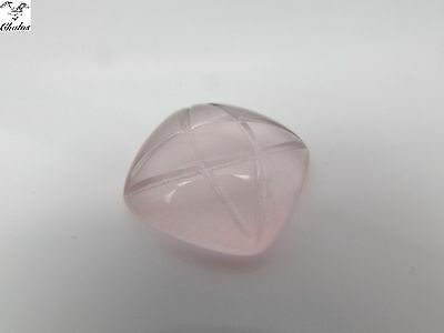 1x Rosenquarz - Cushion Carving  12,21ct.15,5x15,5x6,2mm (1178)