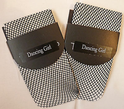 Dancing Girl One Size Plain Top 2 pairs of Fishnet Ankle High Socks in Black
