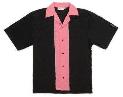Black Pink Retro Bowling Shirt