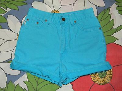 Vintage Chic USA aqua denim high waisted shorts 26 inch waist vtg girls sz 14