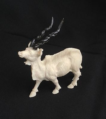 19th Century Hand Carved Bone/Black Forest/Wild Mountain Goat Ibex.