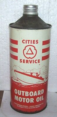 Cities Service Outboard qt quart can Cone Top nice Pic Boat
