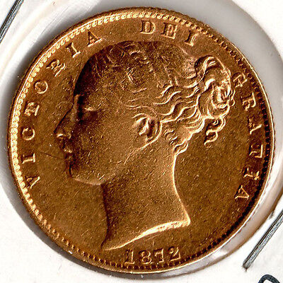 1872 Full Gold Sovereign QUEEN VICTORIA Young Head SHIELD Some Lustre