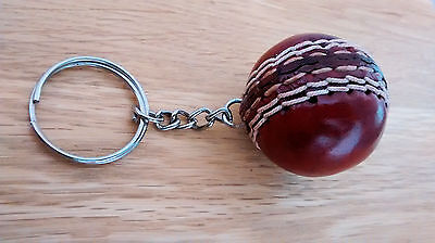 Genuine Red Leather Mini-Cricket Ball Keyrings - Only £3.50p ! - UK Stock