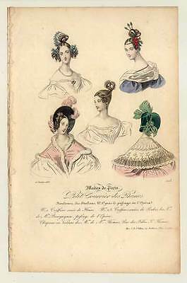 Mode-fashion print-Hüte-Frisuren - Stahlstich 1836 Petit Courrier des Dames