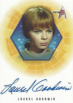 2001 STAR TREK 35TH ANNIVERSARY HOLOFEX  - AUTOGRAPH A22 Laurel Goodwin
