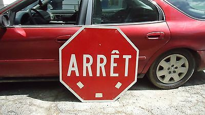 Large vintage highway stop sign in french arrêt  36""
