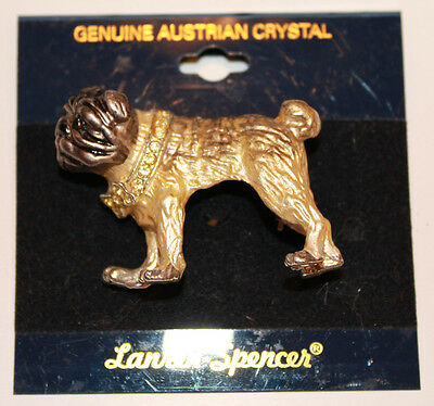 Fawn Pug Pin with Bling by Laura Spencer Genuine Crystals NEW