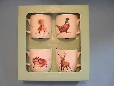 Royal Worcester Wrendale Designs - Set of Four Woodland Mugs - BOXED - NEW