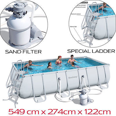 NEW Bestway Steel Frame Above Ground Swimming Pool 18ft 5.5m Sand Filter PUmp