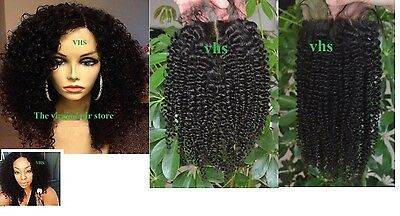 "BRAZILIAN/PERUVIAN human hair  4"" X 4"" kinky CURLY LACE CLOSURE 130% density"
