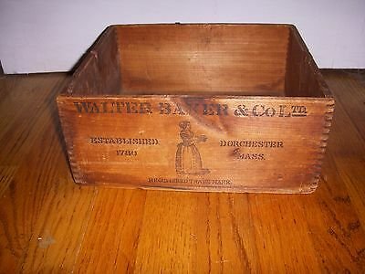 Antique Wood Wooden Walter Baker & Co Breakfast Cocoa Shipping Box Crate