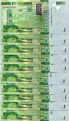 UGANDA 5000 SHILLINGS 2010 P-51a UNC LOT 10 PCS