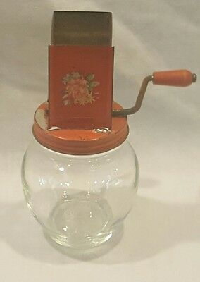 Vintage Nut Grinder Chopper 1935 Anchor Hocking Glass Jar 5935