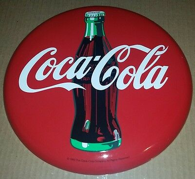 "Vintage Coca Cola Button Metal Tin Advertising Sign 12"" Iches 1990 NEW"