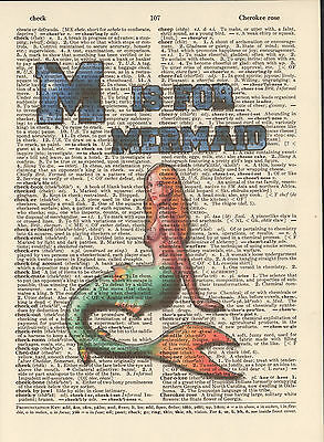 M is for Mermaid Alphabet Altered Art Print Upcycled Vintage Dictionary Page
