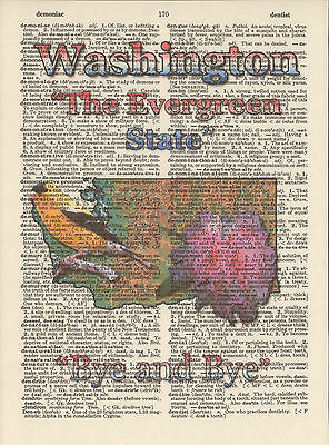 Washington State Map Symbols Altered Art Print Upcycled Vintage Dictionary Page