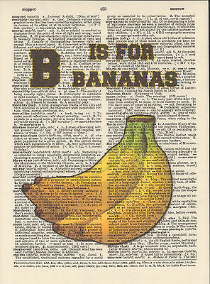 B is for Bananas Alphabet Altered Art Print Upcycled Vintage Dictionary Page