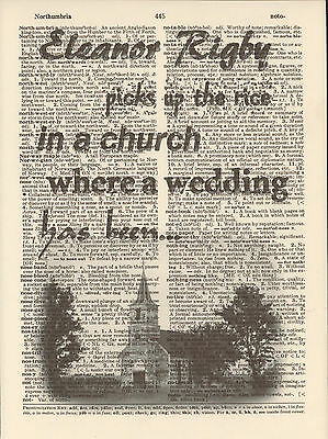 Eleanor Rigby Church Beatles Altered Art Print Upcycled Vintage Dictionary Page
